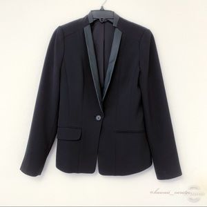 Express Blazer with Faux Leather Collar & Lapels